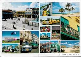 Amérique - Cuba - CIUDAD HABANA - Multi Vues - 13 Vues - 1 Timbre Philatélique Au Verso - Voir Scan -cpm - écrite - - Cuba