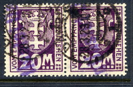 DANZIG 1923 Postage Due 20 Mk. Pair Postally Used, Signed Infla. Michel 22Y €280 - Danzig