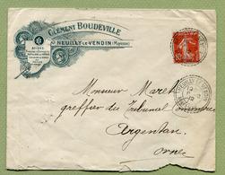 """NEUILLY-LE-VENDIN  (53) : """" ACIERS Clément BOUDEVILLE """" 1912  Facteur Boitier N° 1687 - Marcophilie (Lettres)"""
