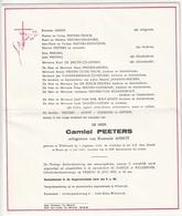 Doodsbrief Camiel PEETERS Echtg. Romanie Asnot Willebroek 1924 Boom 1983 Families Nijsmans Geysen - Décès