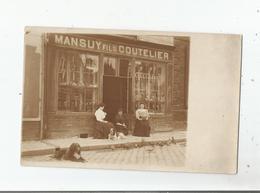 BIESLES (HAUTE MARNE) RARE CARTE PHOTO DE LA COUTELERIE MANSUY FILS ANIMEE - France
