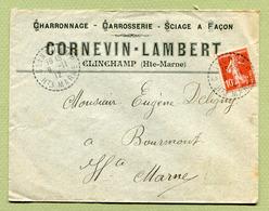 "CLINCHAMP  (52) : "" Entreprise CORNEVIN-LAMBERT ""  1912 - Marcophilie (Lettres)"