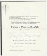 Doodsbrief Marie MARLOYE Wed. Jan Gilis Dréhance 1906 Zaventem 1973 Families Hubert Berthels - Décès