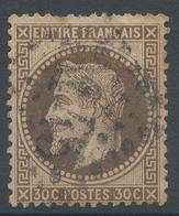 Lot N°46906  Variété/n°30b Brun Noir, Obli GC 3145 Riom-es-Montagne, Cantal (14), Ind 5, Filet OUEST - 1863-1870 Napoleon III With Laurels