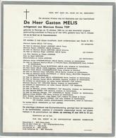 Doodsbrief Gaston MELIS Echtg. Emma Top Reninge 1903 Pecq 1975 Families Desmadryl Deprez - Décès