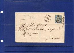 ##(DAN194)-Italy 1866-Piego - Testo Con Effigie Cent.20 Su 15  3°tipo Da Scansano, Annullo Numer A Punti 2131 Per Siena - 1861-78 Vittorio Emanuele II