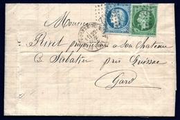 LET2- LETTRE DE ST-HIPPOLYTE DU FORT A SABATIER (GARD)- TIMBRAGE SEPT 1871- CERES N° 37 + EMPIRE N°20-- 4 SCANS - Marcophilie (Lettres)