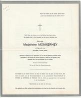 Doodsbrief Madeleine MONKERHEY Echg. Firmin Kino Stavele 1914 Ieper 1976 Families Vermeersch Wyffels Naar Priester Watou - Décès