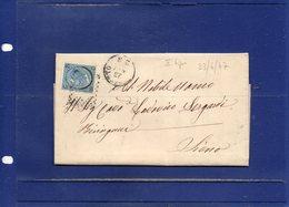 ##(DAN194)-Italy 1867-Piego + Testo Con Effigie Cent.20 Su 15  2°tipo Da Grosseto, Annullo Numer A Punti 88 Per Siena - 1861-78 Vittorio Emanuele II