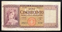 500 Lire Italia 23 03 1961  LOTTO 1958 - [ 2] 1946-… : Repubblica