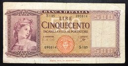 500 Lire Italia 23 03 1961  LOTTO 1958 - [ 2] 1946-… : Republiek
