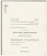 Doodsbrief Guillaume Joseph MENTEN Landen 1907 Puurs 1977 Families Champagne Vermeir Suykens - Décès