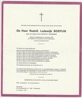 Doodsbrief Rudolf Lodewijk BOSTIJN Zoon Haegeman Nederename 1923 Oudenaarde 1975 Weerstand 40-45 - Décès