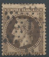 Lot N°46910  Variété/n°30b Brun Noir, Obli étoile 1 De PARIS (Pl De La Bourse), Fond Ligné Vertical, Piquage - 1863-1870 Napoleon III With Laurels
