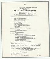 Doodsbrief Marie Louise GHESQUIERE Wed. Rene Loncke Menen 1881 Poperinge 1975 Families Slembrouck Pype - Décès