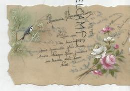 """Magnifique Dessin Sur Silicone, Hirondelle, Fleurs:""""Heureux Anniversaire"""". - Autres"""