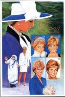 Saint Vincent 3265/72 1997 Lady Di, Mère Teresa , Queen Mum , Rose , Pearl - Koniklijke Families