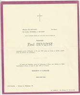 Faire-part Décès Madame Paul DEVUYST Bruxelles 1970 Familles Stanicel - Décès
