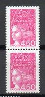 - FRANCE Variété N° 3081d - Paire 4 F. 50 Rose Marianne De Luquet 1997 - BARRES PHO A CHEVAL - - Variétés Et Curiosités