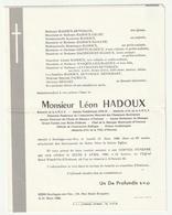 Faire-part Décès Léon HADOUX Boulogne-sur-Mer 1980 Retraité S.N.C.F. Combattant 39-45 Directeur Musique Outreau - Décès