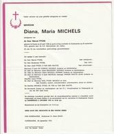 Doodsbrief Diana Maria MICHELS Echtg. Marcel Pycke Ename 1928 Oudenaarde 1975 Families De Vos Van Den Hautte - Décès