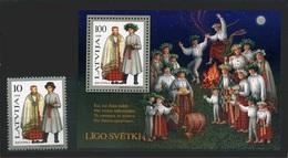 LETONIA 1998 - TRAJES REGIONALES -  YVERT Nº 443** + HB 11** - Textile