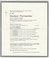 Doodsbrief Modest PARMENTIER Wed. Ida Brunneel Torhout 1881 Roeselare 1975 Families Lenoir Depoorter - Décès