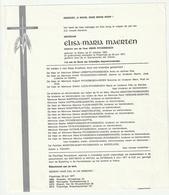 Doodsbrief Elisa Maria MAERTEN Wed. Henry Ryckebosch Watou 1903 Poperinge 1977 Failies Guwy Beddeleem - Décès