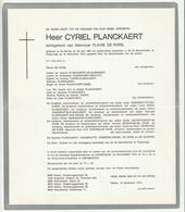 Doodsbrief Cyriel PLANCKAERT Echtg. De Rore St. Denijs 1891 Poperinge 1974 Families Vandeputte Vanderplancke De Leurere - Décès
