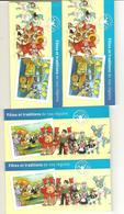 """Lot De 4 Carnets De 12 TVP LP """"Fêtes Et Traditions De Nos Régions"""" - Commémoratifs"""