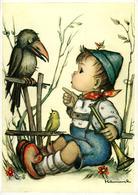 HUMMEL Corbeau Et Garçon Avec Flûtiau - Hummel
