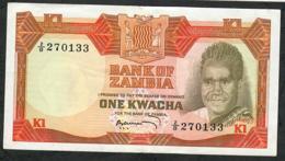ZAMBIA P16 1 KWACHA 1972 #2/B Signature 4   XF-AU - Zambie