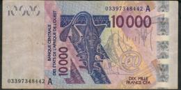 W.A.S. IVORY COST P118Aa 10.000 FRANCS (20)03 FIRST DATE  VF 1 P.h. - West African States