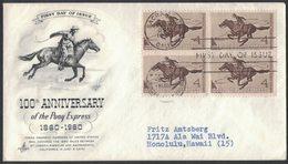 YN292     USA 1960 FDC Pony Express Centennial - 1951-1960