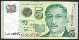 SINGAPORE P47A 5 DOLLARS 2004 Prefix 1AA  VF NO P.h. - Singapour