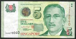 SINGAPORE P47A 5 DOLLARS 2004 Prefix 1AA  VF NO P.h. - Singapore