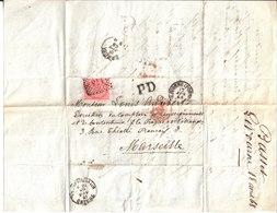 Lettre De M. Basset à Livourne à Louis Audibert Directeur Du Comptoir De Renseignements & De Contentieux Marseille. 1868 - Manuscrits