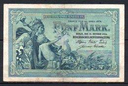621-Allemagne Billet De 5 Mark 1904 O135 - [ 2] 1871-1918 : Empire Allemand