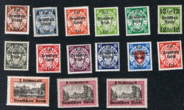 1939 28. Sept. Freimarken Danzig Mi 716 - 29 Sn DA 244 - 54 Yt DA 258 - 71 Sg 704 - 17  Mit Gummierung Und Falz - Gebruikt