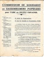 GUERRE D'ESPAGNE - COMMISSION DE SOLIDARITE Du RASSEMBLEMENT POPULAIRE Pour L'AIDE Au PEUPLE ESPAGNOL 1936/38 - Documents Historiques