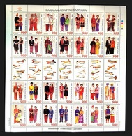 INDONESIA 2000 - TRAJES REGIONALES - YVERT Nº 1789/1816** BLOCK OF 28 STAMPS - Textile