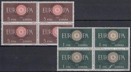 ESPAÑA 1960 Nº 1294/1295 EN BLOQUE DE CUATRO NUEVO PERFECTO - 1951-60 Usados