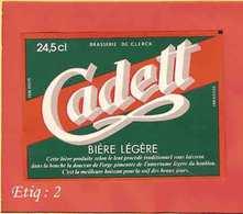 Etiquette De Biere :Cadett  DeClerck HAZEBROUCK - Bière