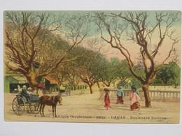 C. P. A. Couleur : Sénégal : DAKAR : Boulevard National, Voiture à Cheval, Animé, En 1918 - Sénégal
