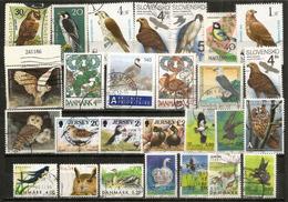 Lot De 27 Beaux Timbres Oiseaux Oblitérés 1 ère Qualité (Danmark,Jersey,Luxembourg,Autriche,etc) - Vrac (max 999 Timbres)