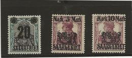 SARRE - N° 50 A 52 NEUF CHARNIERE - ANNEE 1921-  COTE : 30,25 € - 1920-35 Société Des Nations
