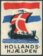 Denmark 1945 Netherlands Aid WW2 Help VIKING SHIP Drakkar Wikinger-Schiff Boat Boot Bateau Poster Vignette Reklamemarke - Ships