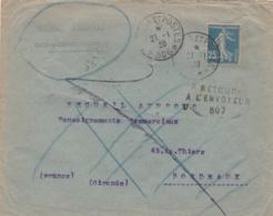 Lettre De Constantinople Pour Bordeaux En Retour à L'envoyeur Cachet Trésor Et Postes 506 De 1920 - Marcophilie (Lettres)
