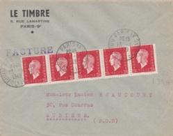 Marianne De Dulac 2,40 Rouge En Bande De 5  Sur Lettre - Marcophilie (Lettres)