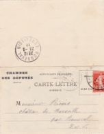 Demie Semeuse 10c Rouge Sur Carte Lettre  Chambre Des Députés - 1877-1920: Période Semi Moderne